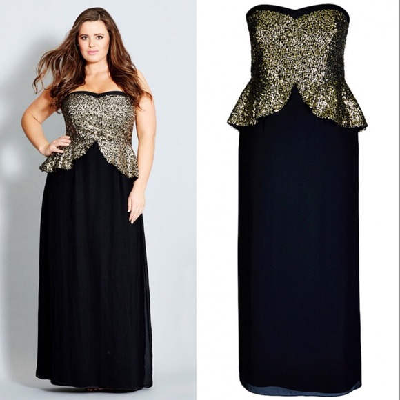 a1fe5cf131e30 City Chic 22 Plus Size Sequin Peplum Maxi Dress